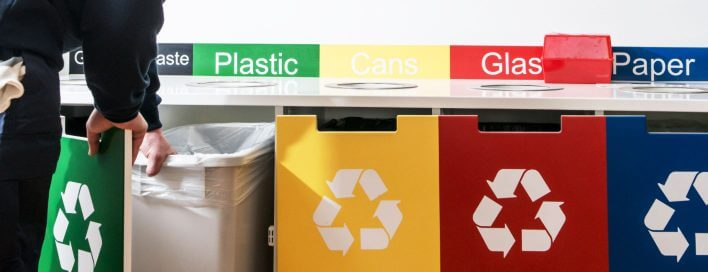 Row of recycling bins