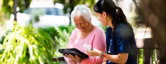 Nurse with elderly lady